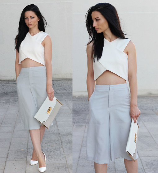 LOOK DU JOUR BY ANA - Boohoo White Crop Top, Forever 21 Grey Elasticized Back Culottes, New Look Patchwork Clutch, Christian Louboutin White Stilettos - CULOTTES : The Trend Shock !