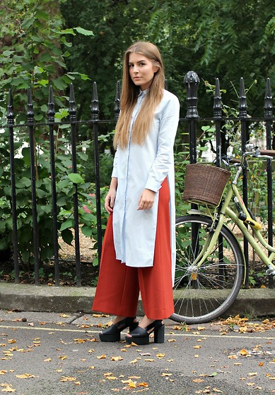 Angharad Jones - Zara Shirt, Zara Trousers, & Other Stories Shoes - Long Length Shirt at LFW