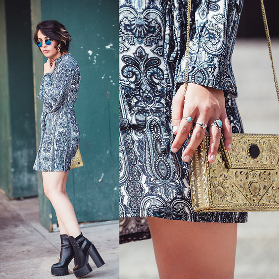 Shooka R - Motel Dress, Boohoo Bag, Zerouv Sunglasses - Worn out x motel - NYFW