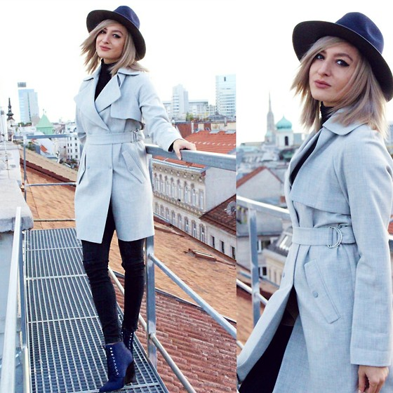 Ana Maria Oprea - Topshop Trench, Buffalo London, Primark Blueish - Over Vienna's rooftops