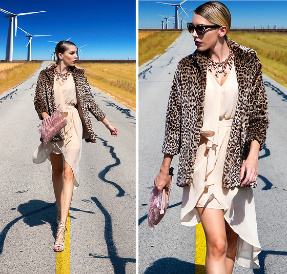 Dora D. - Faux Fur Coat, Stylemoi Asymetric Dress With Waterfall Hem, Lace Up Nude Heels, Jn Plus Paris Friged Clutch - Running to the edge of the world.......