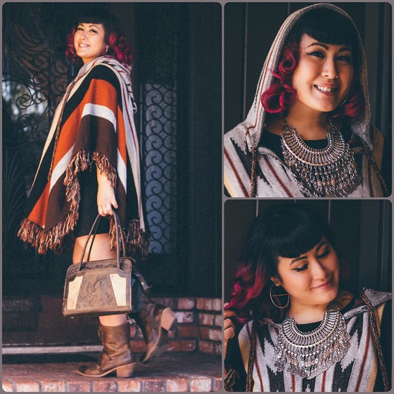 Ro Ro - Vintage Poncho, Alternative Apparel Minidress, Vintage Leather And Calfskin Purse, Latigo Leather Ankle Boots, Down At Lulu's Turkish Coin Necklace, April May Jewelry Handmade Hooplah Hoops - Bohemian Raspberry