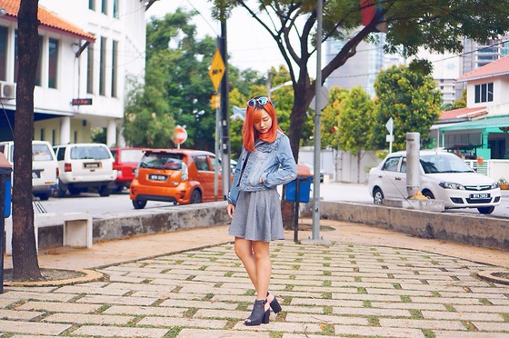 Baoer Tang - H&M Grey Dress, Forever 21 Denim Jacket - Grey
