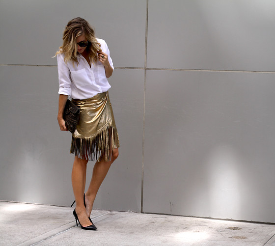 Ashley - Lillth Crisp White Button Up, Tamara Mellon Gold Fringe Skirt, Christian Dior - A touch of gold