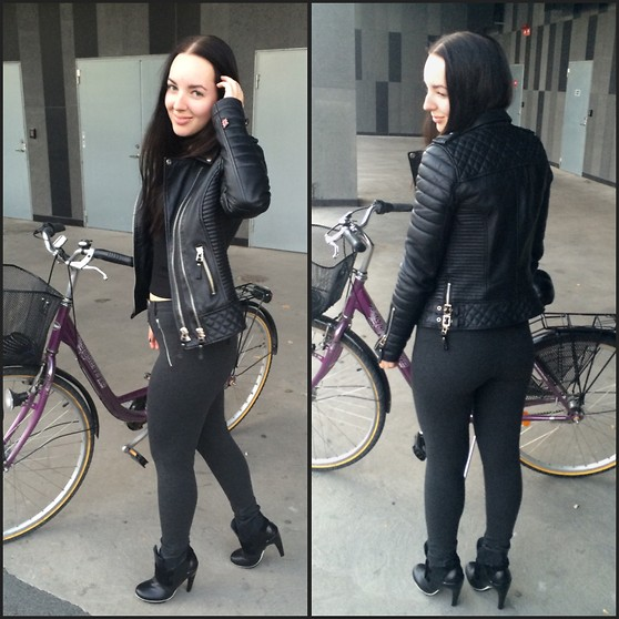 Sandra Jönsson - Boda Skins Leather Bikerjacket, Zara Pants, United Nude Boots - RIDING MY BIKE IN HEELS
