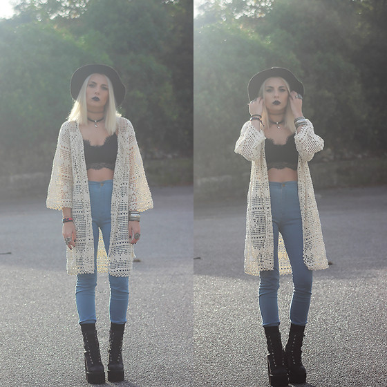 Cátia Gonçalves - High Waist Pants, Jeffrey Campbell Boots, Handmade Crochet Kimono, Lace Crop Top - Stay, Stay away