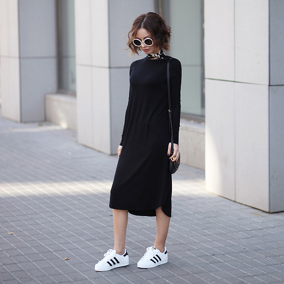 Sonya Karamazova - Adidas Originals Superstar Sneakers, Asos Dress - B&W