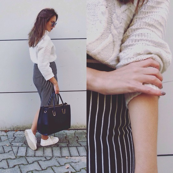 Fleuryina - - Gina Tricot Skirt, H&M Bag, H&M Cozy White Pullover - Stripes