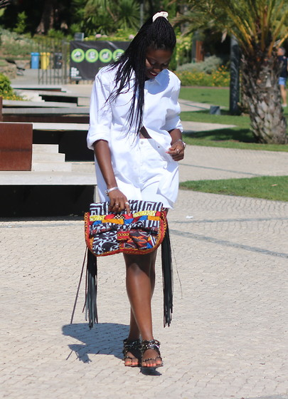 Odette Akoache - Alexandre Savile Row Mens White Shirt, Topshop High Waisted Shorts, River Island Sandals - The African Print Clutch