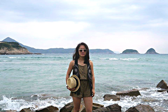 Christy Chiu - H&M Exotic Fringed Vest, Forever 21 Olive Romper - Stroll along the beach