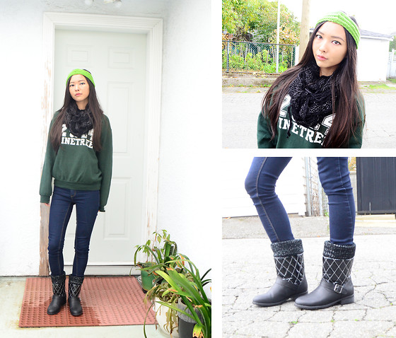 Julie Tao - My Friend Made It For Me Green Knit Headwrap, Cougar Black Boots, Black Scarf, Green High School Sweater, Bluenotes Dark Blue Jeans - Probably just about the edgiest it can get for me
