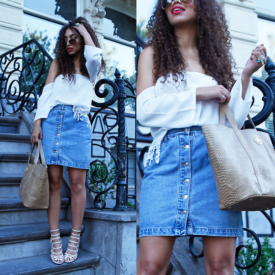Larissa B. - Vintage Button Up Skirt Denim, Znu Off Shoulder White Top, Janiko Brown Snake Leather Look Bag, Missguided Open Strappy Heel Laser Cut Nude - Button UP