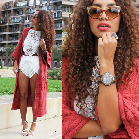 Larissa B. - Wildfox Maxi Cardigan, Style Moi White Co Ord Set Lace Crochet Shorts, Style Moi White Co Ord Lace Crochet Crop Top, Primark White Strappy Heel, Konifer Wooden Watch, Triwa Brown Wooden Look Sunnies Sunglasses - BACK IN LUXURY