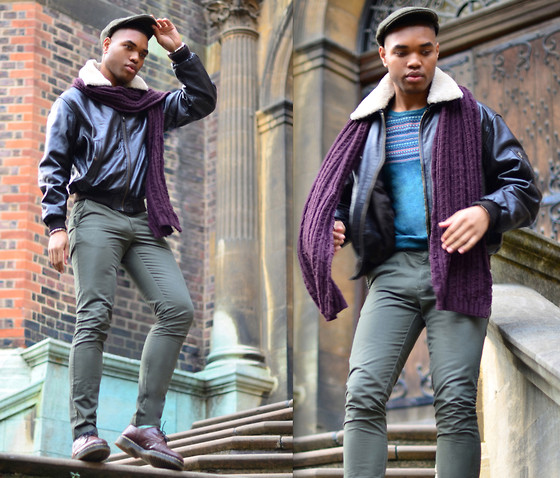 Omiri Thomas - Marks & Spencer Flat Cap, T.M.Lewin Chinos, Dr. Martens Shoes, Heeli London Leather Jacket, Marks & Spencer Scarf - Gone with the wind