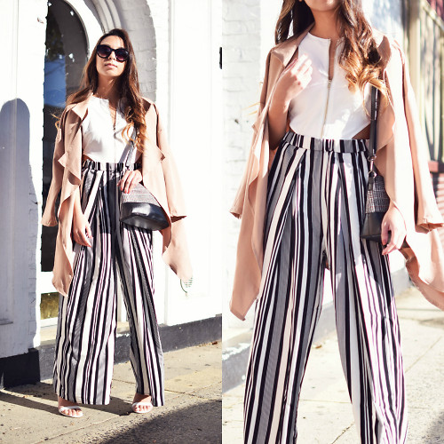 Melanie P. - Dresslink Trench, Missguided Cut Out Crop Top, Dressin Bag, Yoins Trousers - Don't Mess With the Pants