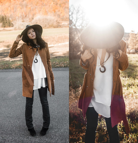 Jessica B. - Pacsun Trench Coat, Wholesale7 Top - That 70's Suede