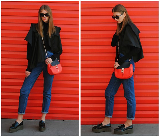 Yulia Sidorenko - Zara Platform Shoes, Choies Jeans, Wholesalebuying Bag, Dresslink Cape, Sinequanone Turtleneck, Sinsay Sunglasses - Red wall. Part 2
