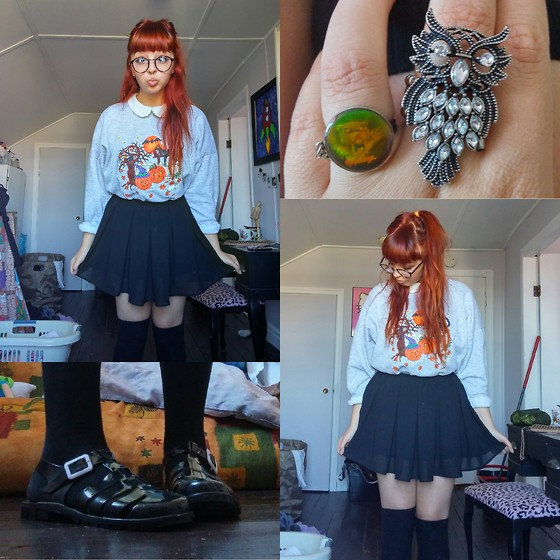 Molly Girard - Ebay Jelly Shoes, Thrifted Halloween Sweater, Streetwear Society Black Chiffon Skirt, Ebay Kawaii Nerd Glasses, Tristan Peter Pan Collared Shirt, H&M Knee High Socks, Payless Owl Ring, Thrifted Goosebumps Ring - Pumpkin Spice Schoolgirl
