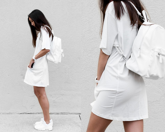 Kristina - Forever 21 Backpack, Cyeoms Shirtdress, Nike Trainers, Fjord Timepiece - Sport white