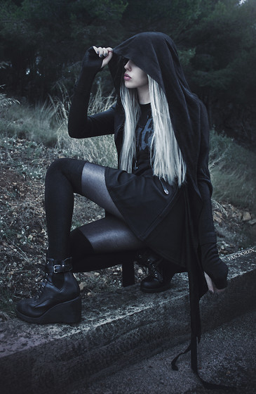 Anne-Cécile Van Doren - Virgin Blak Hooded Draped Long Cardigan, Tally Weijl Textured Skater Skirt, New Look Black Ankle Boots, Mgla Shirt - Exercises in Futility