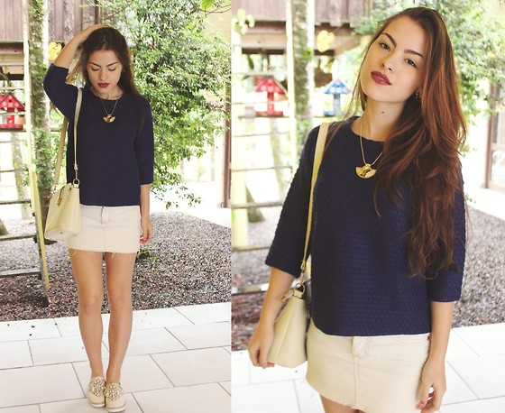 Bárbara Kohls - Choies Navy Knit Sweater, Dresslink Shoulder Bag, Choies Khaki Loafers, Zaful Geometric Necklace - Favorite blue