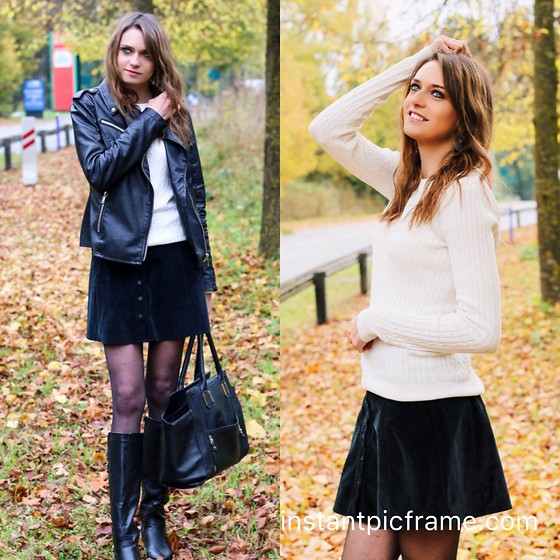 Audrey - Gina Tricot Pullover, Brandy Melville Usa Skirt, Boohoo Boots, Boohoo Bag, Stradivarius Jacket - Always fall