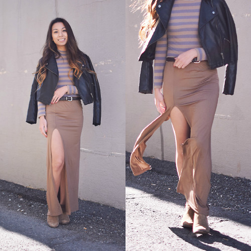 Melanie P. - Adidas Leather Jacket, Zara Longsleeve Striped Turtleneck, Dressin Slit Maxi Skirt, Steve Madden Ankle Suede Boots - Earthy Tones for Fall