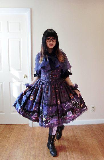 Petite Decadent - Angelic Pretty Blouse, Metamorphose Witch Forest Corset Dress, Metamorphose Lace Up Socks, Combat Boots - 103015 Witch Forest