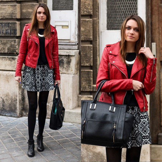 Audrey - Pimkie Jacket, Asos Pullover, Boohoo Skirt, Boohoo Bag - Black & red