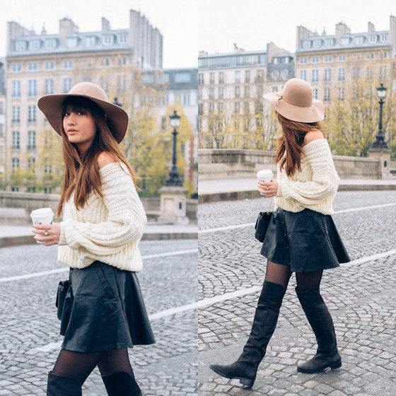 Nikita Wong - Chicwish Faux Leather Skirt, Chic Wish Wooly Jumper, Jonak Leather Boots - Oh my Paris