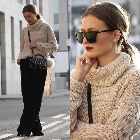 Livia Auer - Le Specs Halfmoon Magic, Noisy May Turtleneck, Zara Bag - BEIGE TURTLENECK