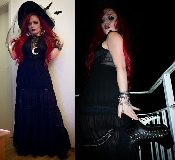 Asu Rocks - Killstar Moon Necklace, Asos Pentagram Earrings, Miss Selfridge Maxi Skirt, H&M Body, Ebay Spine Heels - Still witching
