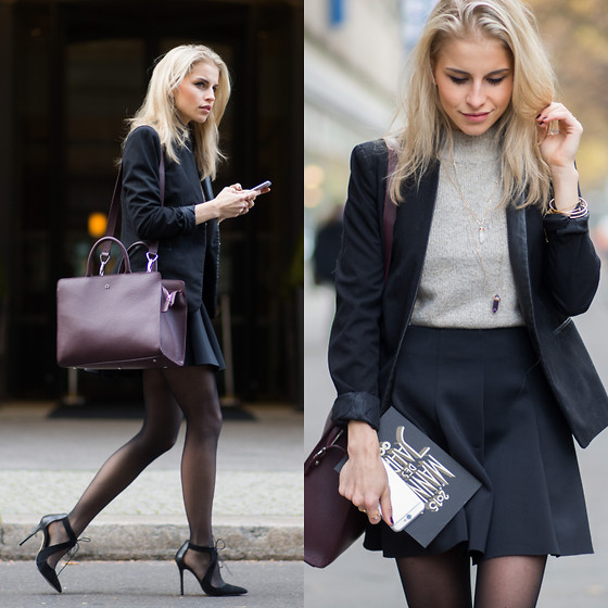 Caro Daur - Topshop Shoes, Aigner Bag, Topshop Skirt, Asos Blazer, Asos Sweater - Businesslook