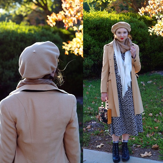 The Indie Girl Fleming - Nordstrom Camel Beret, Desale Beautiful Vintage Dress, Nordstrom Ombre Scarf - Waiting For A Train