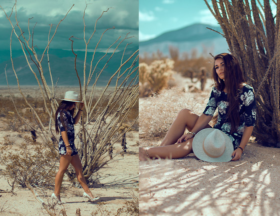 Alexandra Ford Hamilton - Lack Of Colour Grey Felt Hat, Tobi Floral Shift Dress, Steve Madden Snake Print Heels - Borrego Springs