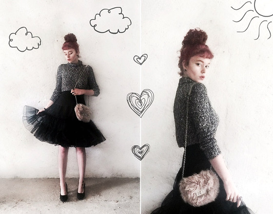 Mimi M - River Island Crop Top, H&M Fluffy Clutch Bag, Studio London Black Pumps - Doodles