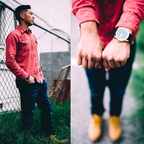 Gary Agunos - Michael Kors Rose Gold, American Eagle Outfitters Jeans, H&M Button Up, Timberland Timberlands - #Downtown.
