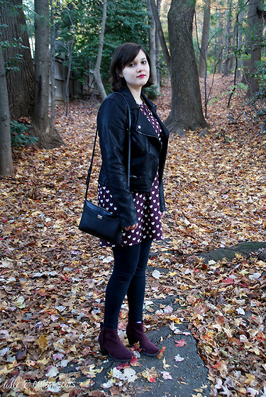 Gina S. - Blank Nyc Faux Leather Jacket, New Look Heart Print Dress, Black Leggings, Old Navy Faux Suede Boots, Coach Crossbody Bag - Hearts & lockets.