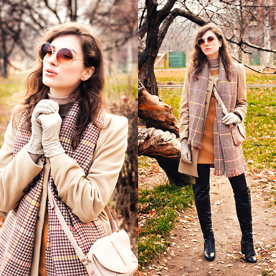 Natasha Karpova - Cndirect Scarf, Cndirect Sunnies, Kiabi Bag, Centro High Boots, Best Connections Coat, No Brand Dress - BDay LOOK