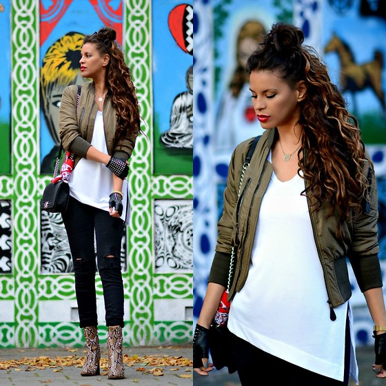 Tamara Chloe - Bershka Jacket, Chanel Bag, Zara Shirt, Zara Jeans, Mango Ankle Boots, Prisma Watch - The Cutest Bomber