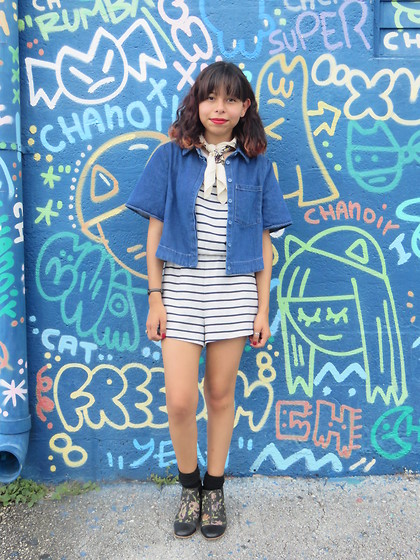 Brisa Gomez - Urban Outfitters Denim Top, Forever 21 Striped Romper, Urban Outfitters Neckerchief, Nasty Gal Booties - Blue Mania