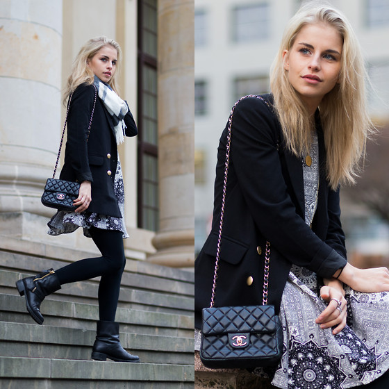 Caro Daur - Edited Blazer, Zara Shoes, Zara Dress - Black blazer