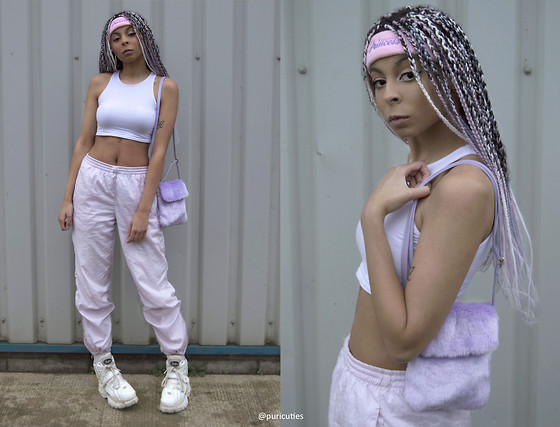 Shady Kleo - H&M Crop Top, Puma Pink Joggers, Wego Princess Sweatband, Wego Purple Fluffy Shoulder Bag, Buffalo Shoes - Fit For A Princess