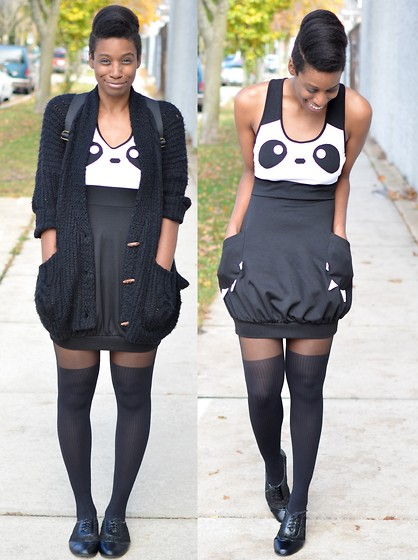 Sushanna M. - Black & White Houndstooth Backpack, Thrifted Panda Dress, Urbanog Black Lace Inset Wingtip Flats - My Eyes Are Down Here