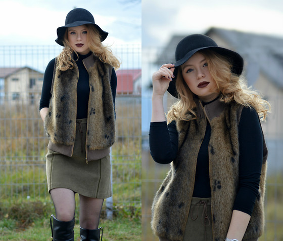 Lorena Serban - H&M Hat, H&M Turtleneck, Vest, Zara Skirt, Zara Boots - Lovely days