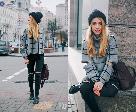 Anna Pogribnyak - Choies Sweater, Style Moi Jeans, Yoins Backpack, Topshop Boots - Ripped knees, ripped elbows