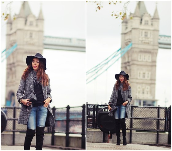 Virgit Canaz - Little Mistress Over The Knee Boots, Closetlondon Jacket, Monsoon Turtle Neck Sweater, Vero Moda Hat, Gstar Jeans, Chanel Boy Bag - Tower Bridge of London