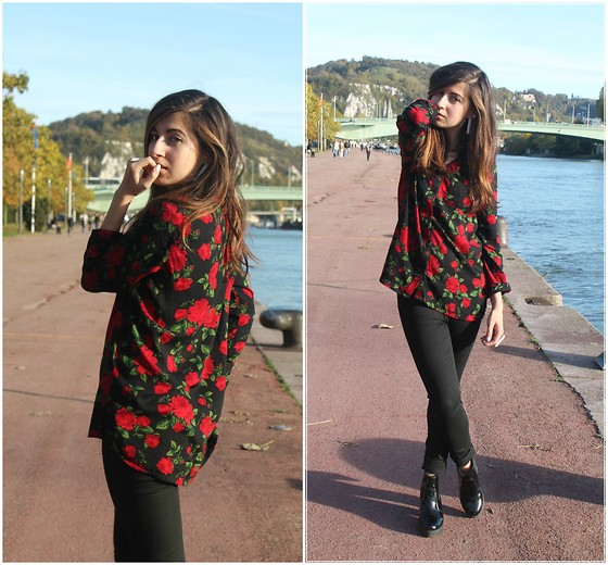 Elo' Cupcake - H&M Shirt, Cheap Monday Jeans, New Look Boots - Covered by roses