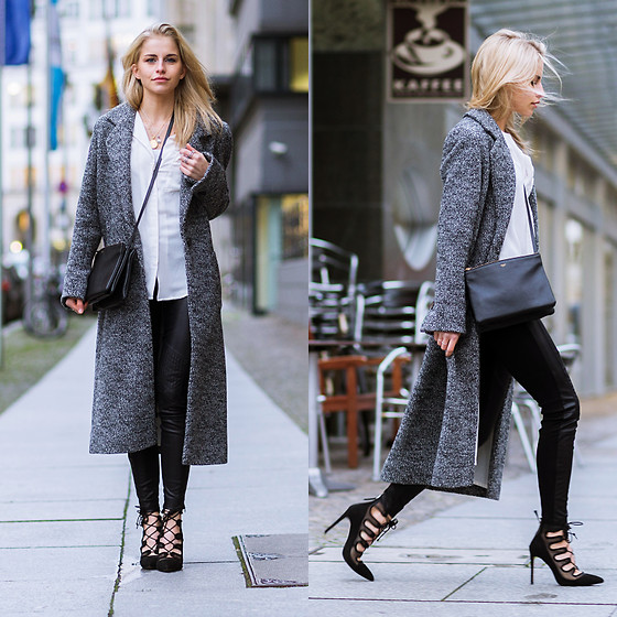 Caro Daur - Zara Shoes, Celine Bag - Grey coat