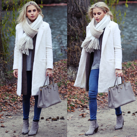 Caro Daur - Ash Footwear Shoes, Mgsm Coat, Levi's® Jeans, Zara Scarve, Prada Bag - Grey